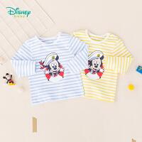 迪士尼Disney童装 男童条纹肩开长袖T恤海军风2019秋季新品纯棉上衣吸汗透气193S1241