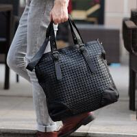 男包包商务手提包竖款单肩包编织公文包斜挎背包男士包包