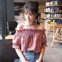 复古格子衬衫女夏装新款韩版宽松显瘦一字领露肩上衣短袖学生衬衣
