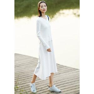 [AMII东方极简] JII东方极简 2018春装假两件白色毛针织衫大码小心机连衣裙