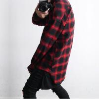 ins超火的红黑格子衬衫男嘻哈长款韩版潮bf长袖宽松学生青年