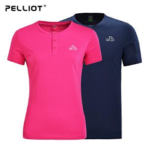 【保暖节-狂欢继续】法国PELLIOT户外快干衣男女 夏季短袖运动t恤薄款圆领吸湿透气T恤