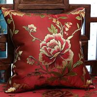 中式花鸟沙发垫坐垫靠垫实木家具罗汉床餐椅垫海绵坐垫套定制