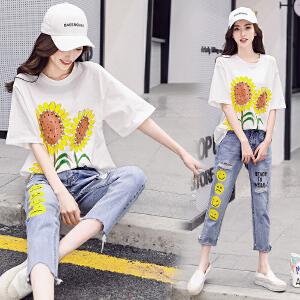圆领简约韩版2018年夏季休闲舒适显瘦时尚潮流短袖韩版套装