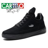 卡帝乐鳄鱼 CARTELO 休闲鞋中帮舒适英伦时尚休闲板鞋系带户外运动鞋男 KDL522 黑色