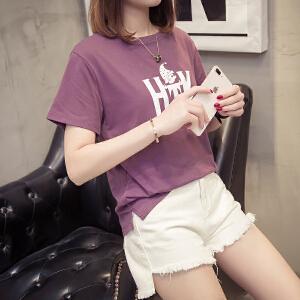 韩版短袖女夏宽松上衣印花2018夏季新款百搭学院风显瘦韩范体恤衫