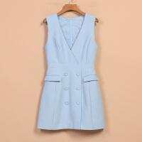 【秋】女新款春8Q1813韩范时尚无袖V领连衣裙