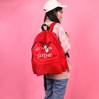 207新款高中学生背包男书包女双肩包防水韩版双肩背包旅行休闲包 红色