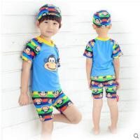大嘴猴短袖短裤分体游泳衣卡通可爱带帽套装游泳儿童泳裤 中大童男童