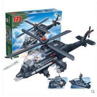 【小颗粒】邦宝拼插积木益智儿童玩具礼物3合1阿帕奇军事战机8478