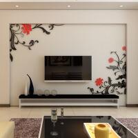 亚克力3d立体自粘墙贴家装饰品客厅卧室电视背景墙壁纸 黑+红