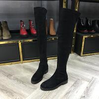 秋季新款羊�S皮绒里长筒靴过膝圆头黑色显瘦女靴子