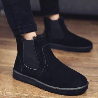 靴子男马丁靴冬季保暖加绒情侣雪地靴一脚蹬懒人面包棉鞋   冬季加绒保暖情侣百搭雪地靴