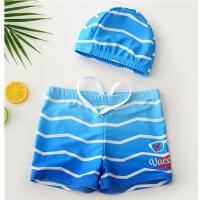条纹短裤儿童泳裤男童分体平角游泳衣中大童宝宝泳裤带帽游泳装备