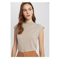【1件4折到手价:99.6】MECITY女装夏季新款潮流半高圆领无袖背心式毛衫