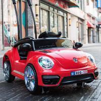 婴儿童电动汽车四轮遥控车可坐 1-3岁摇摆童车宝宝玩具车可坐人 甲壳虫酒红色 推把限量版