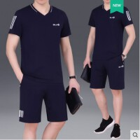 时尚新款运动套装男V领T恤短袖短裤两件套透气清爽休闲跑步运动服装男