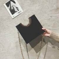 包包女2018新款小众设计师半圆金属手柄链条斜跨手拎包单肩包女包