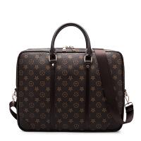 新款手提包男士商务包横款单肩包休闲印花斜挎包公文包男女包潮 大款 咖啡色