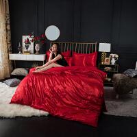 欧式纯棉优卡丝贡缎提花床单床笠款大红婚庆床上用品双人四件套 1.8m床笠款 被套220x240