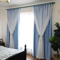 韩式小清新双层公主风梦幻镂空星星蓝色窗帘成品遮光卧室客厅定制