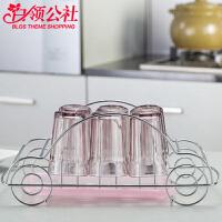 白领公社 沥水架 杯子铁艺创意汽车型不锈钢杯架玻璃杯茶杯酒杯沥水架晾杯子架厨房用品家居日用置物架子
