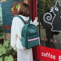 书包女韩版原宿 高中学生绒帆布背包双肩包女2018新款