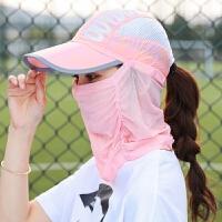 夏季防晒帽子女遮脸骑车鸭舌太阳帽防紫外线户外折叠遮阳帽