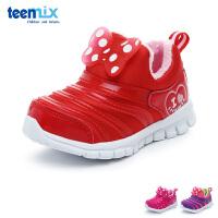 百丽天美意teenmix童鞋17冬季毛毛虫学步鞋婴幼童宝宝鞋加绒保暖儿童运动鞋 (0-4岁可选)