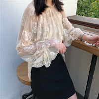 夏季韩版宽松长袖蕾丝衫喇叭袖上衣+百搭小吊带两件套女时尚套装