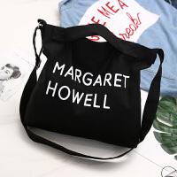 新款男包学生手提包帆布斜挎包时尚韩版休闲大容量单肩包旅行袋 男包MARGARET【黑色】