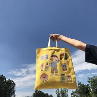 唐糖包袋xChara合作单肩手提书包 限量款插画款帆布包