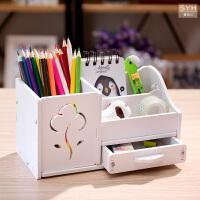 桌面收纳盒大号书桌置物架创意文具办公整理盒多功能创意时尚笔筒