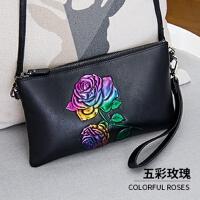 手包女手拿包新款潮韩版个性时尚多卡位压花单肩小挎包女 五彩玫瑰