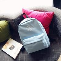 韩国书包 韩版时尚bf风笑脸双肩包女学生帆布包原宿风女包 浅蓝色