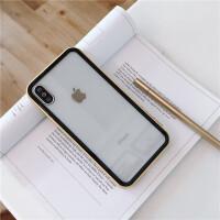 小清新透明边框iphonex手机壳苹果x/xs/xr/max/8plus全包硅胶7p软 6/6s(4.7) 黄边框