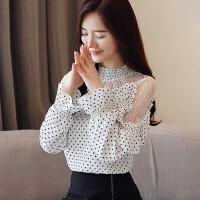 秋装露肩雪纺衬衫长袖女2018新款韩版小衫网纱蕾丝上衣服