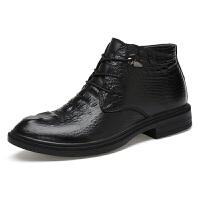 冬季鳄鱼纹真皮男士高帮皮鞋英伦高邦鞋加绒保暖棉鞋