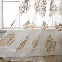 欧式窗帘客厅豪华雪尼尔绣花窗帘大气客厅落地窗窗纱