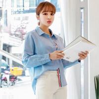 韩都衣舍2019夏装新款女装韩版拼接条纹宽松长袖衬衫GS10006�m