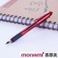 韩国monami/慕娜美2099-03红色 OLIKA糖果彩色钢笔 大中小学生专用练字书法透明钢笔0.5mm铱金笔F尖
