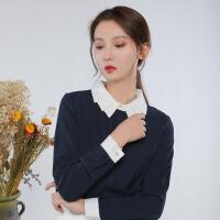 雪纺长袖衬衫女2018春季新款翻领衬衣女韩范职业装上衣 藏蓝
