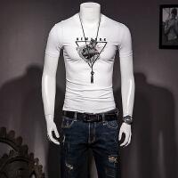 男士圆领短袖T恤衫2018夏装新款修身型男青年丝光棉T恤半袖 白色 M
