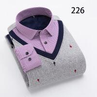 冬季男士长袖保暖衬衫加绒加厚假两件套头寸衫韩版休闲衬衣针织衫