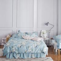 伊迪梦家纺 全棉床裙式四件套 优质纯棉斜纹印花面料 多规格单人双人床HC1902