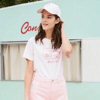美特斯邦威 2018夏装新款短袖T恤女可爱简约基础款短袖衫韩版潮流