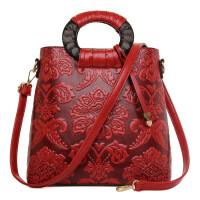 包包冬季新款复古中国风压花纹商务手提包单肩手提斜跨包女包