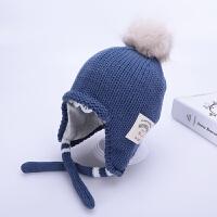 儿童帽子冬季1-3岁2护耳保暖男童女童针织帽韩版潮棉衬宝宝毛线帽 蓝色 87护耳 均码