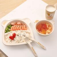 竹纤维儿童餐盘套装分格家用可爱吃饭餐具分隔盘饭碗宝宝