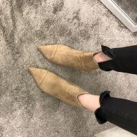 韩国冬季马丁靴女鞋2018秋新款尖头及踝靴绒面细跟高跟短靴